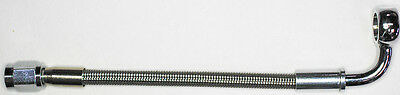 "AN-3  30"" long, stainless steel braid hose, ST X 90ø banjo 7/16""  NC"