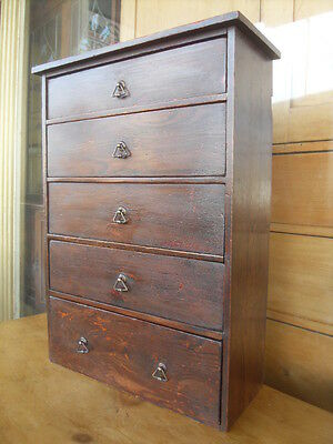 Antique Pine Collectors Chest Of Drawers / Miniature Chest Of Drawers