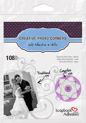 3L 01628 CREATIVE PHOTO CORNERS WHITE, SELF ADHESIVE 108 ea.