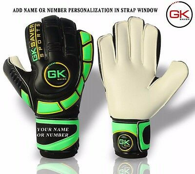 Goalkeeper Gloves Finger Save Football Goalie GK Saver Flat Cut Gloves Size 4-11