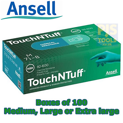 Ansell 92-600 Touch N Tuff Nitrile Gloves Powder Free Large & Extra Large
