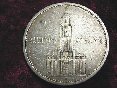 german Nazi silver 5 RM 1934 A ,church with date !