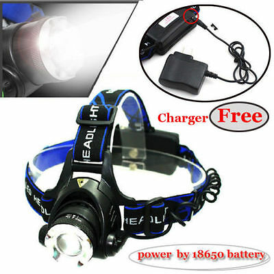 1600LM Headlamp Headlight Zoomable Power CREE XM L T6 by 18650 Battery+ Charger