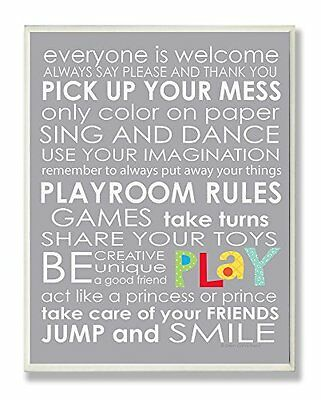 NEW The Kids Room By Stupell Wall Decor  Playroom Rules for Everyone Typography
