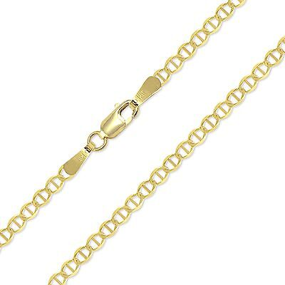 "10K Solid Yellow Gold Mariner Necklace Chain 2.5mm 16-24"" -Anchor Link Women Men"