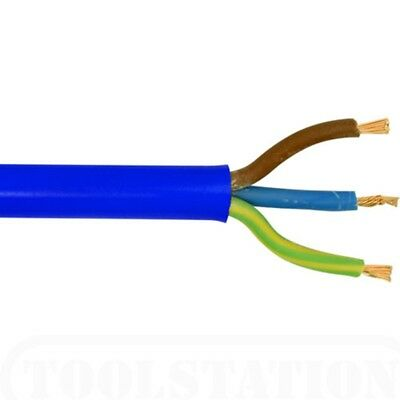 3 Core 15 Amp Artic Blue Mains Electrical Cable Flex External Outdoor Per Meter