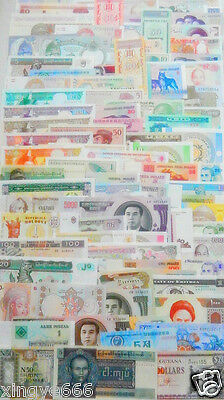 102 Different world paper money collection, UNC genuine banknotes