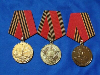 3 post-soviet russian medals 50-60 years victory WW2 Zhukov medal USSR