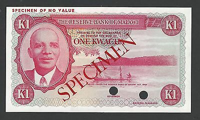Malawi 1 Kwacha 1971 P6 Trial Colour Specimen Uncirculated
