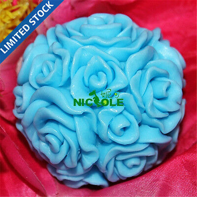 LZ0091 Nicole 3D Rose Flower Ball Handmade Decorative Silicone Candle Molds
