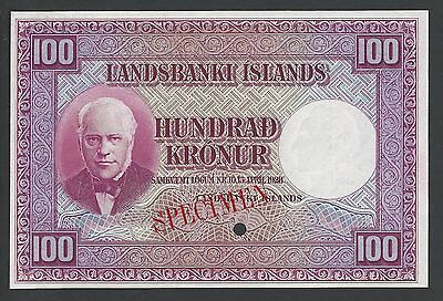 Iceland Landsbanki Islands, 100 kronur L.1928 first Issue P30ct Color Trial Unc