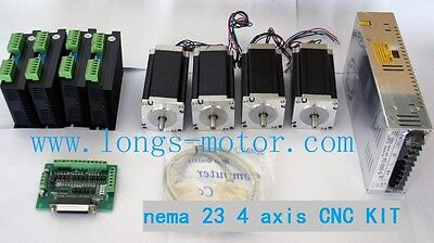 promotion 4 Axis nema23 stepper motor 435oz.inch 4 drivers&powers cnc kit router