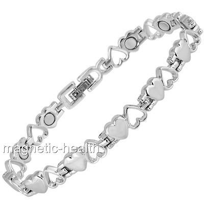 Ladies Magnetic Therapy Bracelet Silver Hearts Bangle Arthritis Pain Relief Mag9