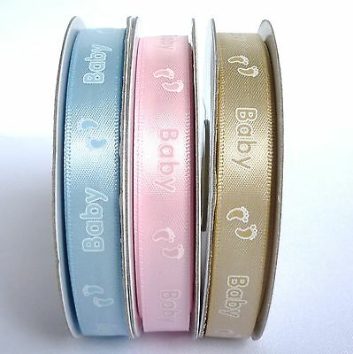 Satin 12mm Ribbon with Printed Baby Feet Design - 3 Colours (1 Qty = 5 Metres)