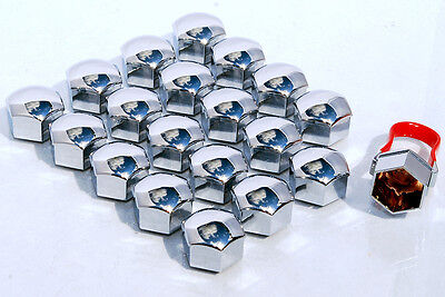Pack of 20 Chrome alloy wheel bolts lugs nuts caps covers 17mm hex