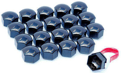 Pack of 20 Black alloy wheel bolts lugs nuts caps covers 17mm hex for Audi