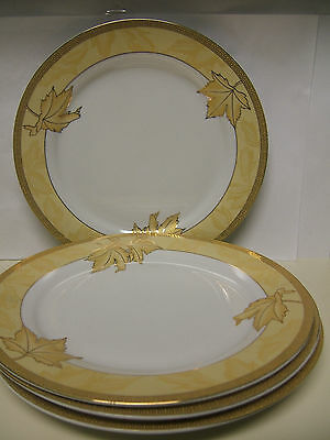 Casati Porcelain Aramco Imports Design Germany Dinner Plates Wht w/Yellow & Gold