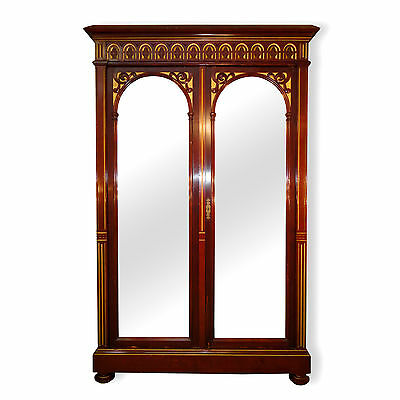 Antique Victorian Gothic Mahogany & Gilt Wardrobe *UK Delivery £95