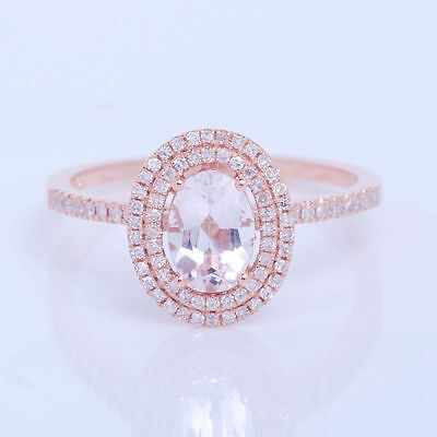 5X7MM Oval .87ct Pave Diamond HALO Morganite Engagement Ring Solid 10K Rose Gold