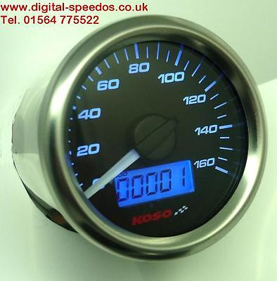 KOSO D48 Speedometer Speedo MPH/KPH Gauge with universal cable drive adapter Blk