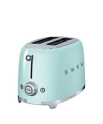 SMEG 2 Slice Toaster Extra Wide Bagel Retro 50's TSF01PGUK 2 Year Warranty GREEN