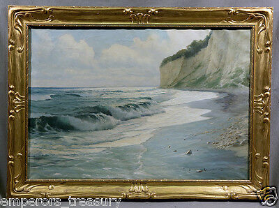 Early 20th Centure European Realistic Shore Seascape with Waves and Cliffs