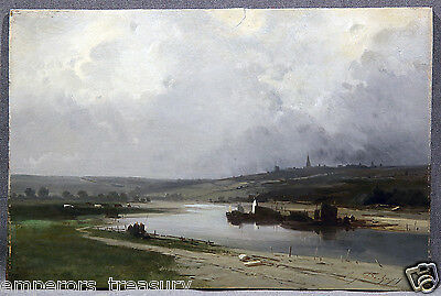 19 th Century Landscape Coastal Seen with Figures Ships and City