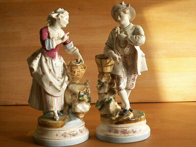 PAIR OF LATE 19TH CENTURY HAND PAINTED GERMAN PORCELAIN MALE AND FEMALE FIGURES