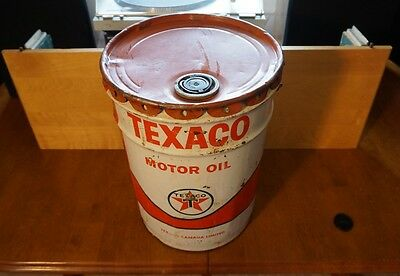 Vintage Texaco Canada Motor Oil Drum - 5 Gallon - Heavy Duty
