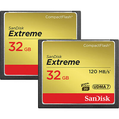 SanDisk 32GB Extreme CompactFlash Memory Cards (2-Pack)- Authorized Dealer