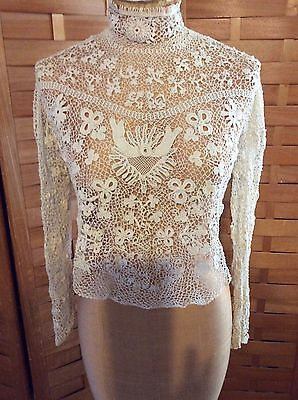 Vintage Antique Edwardian Victorian Hand Made Irish Crochet Lace Blouse Bridal