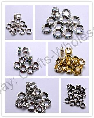 10Pcs Czech Crystal Rhinestone Silver Rondelle Spacer Beads 8MM 10MM