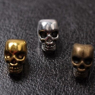 10pcs Tibetan Silver, Gold, Bronze, Charms Skull Loose Spacer Beads 12X8MM CW810