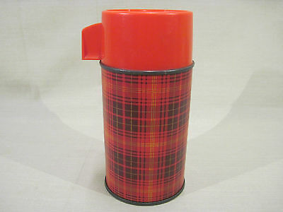Vintage Aladdin 1960's - 70's Dark Red Plaid Metal Glass Lined Lunchbox Thermos
