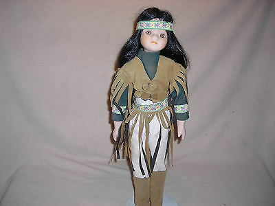 Native American Porcelain  Doll -. 16 Inch Boxed