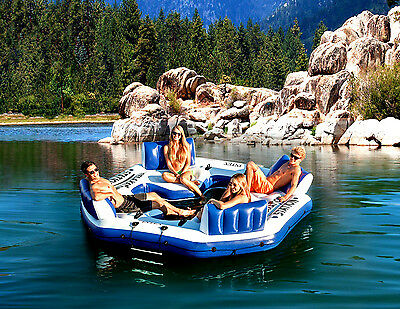 Giant 4 Person Inflatable Lake Raft Pool Float Ocean Floating Huge Water -Lounge