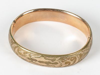 Antique Victorian bracelet etched gold tone hinged cuff bangle Finberg FM Co.