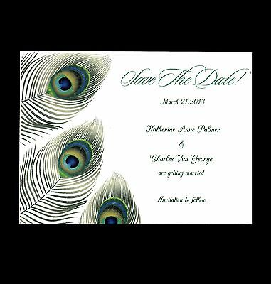 100 Personalized Custom Peacock 4 Wedding Save the Date Cards