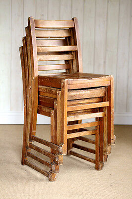 Set of 4 Vintage Wooden School Stacking Chairs