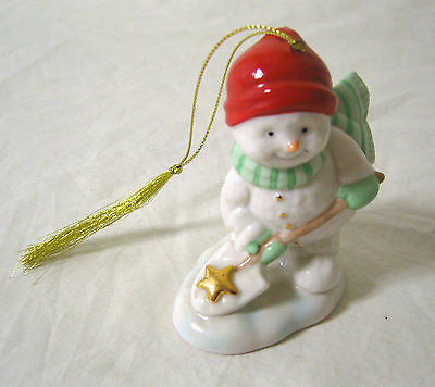 """Belleek Living Holiday Collection Pottery Snowman Shoveling Snow Decoration 4"""""""