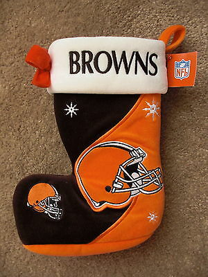 Cleveland Browns Football Team NFL Double Sided Christmas Stocking w/ Bow - NWT!