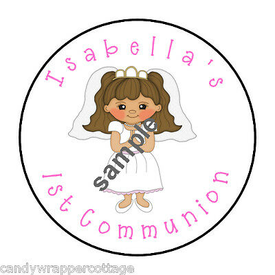 "30 First Communion Personalized 1.5"" Round Labels Favors Lollipop Stickers Seal"