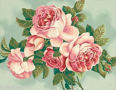 Heirloom Roses Paint By Number Color Canvas Textured Print Reproduction