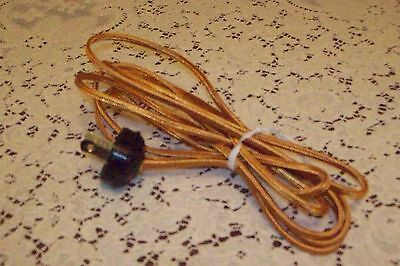 5 1/2 Feet Gold Rayon Cord 4 Nice Table/Floor Lamps w/Acorn PLUG