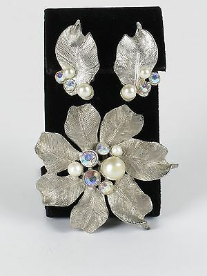 Estate vintage silver tone flower brooch pearls AB rhinestones clip earrings set