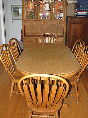 Richardson Brothers Dining Room Oak Hutch Table W 6 Chairs Great