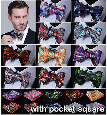 Paisley Floral Mens 100% Silk Bow Ties Wedding Self Bow Tie handkerchief Set EFC