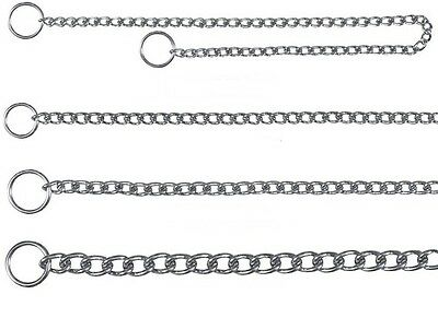 Choke Chain Dog Silver Chrome Choker Metal Collar for Dogs in 14 Sizes