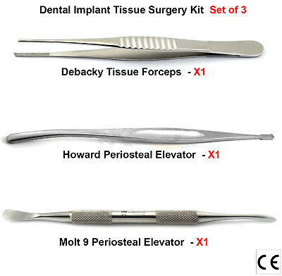 Periosteal Elevators Molt 9 DeBakey Tissue Pliers Sutures Dental Implant Surgery