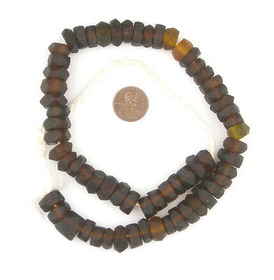 Dark Brown Faceted Recycled Java Sea Glass Beads 11mm Indonesia Large Hole